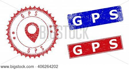 Rectangle And Round Gps Seal Stamps With Icon Inside. Blue And Red Scratched Stamps With Gps Phrase