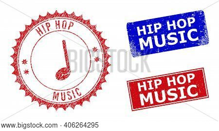 Rectangle And Round Hip Hop Music Seal Stamps With Icon Inside. Blue And Red Grunge Watermarks With