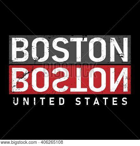 Text Design With Name Of Boston, Massachusetts, Usa, Vector Illustration
