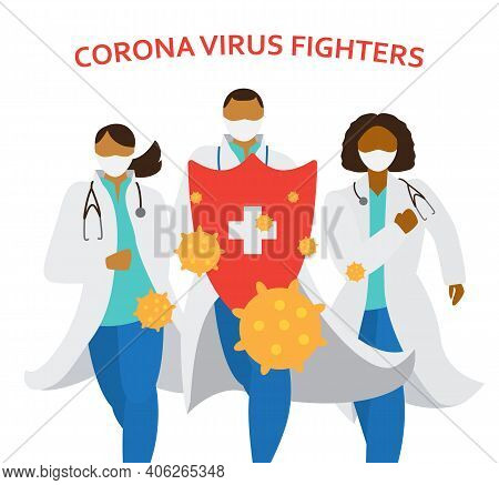 Doctors In Masks And Uniform Holding Big Shield Fighting Corona Virus. Different Races Medecine Work