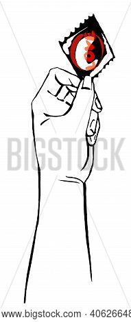 Sketch Hand Hold Condom Protect People From Hiv, Aids. Vector Illustration