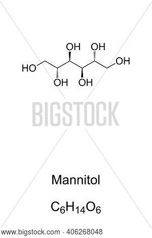 Mannitol, Chemical Formula And Skeletal Structure. D-mannitol, Mannite Or Manna Sugar. Isomer Of Sor