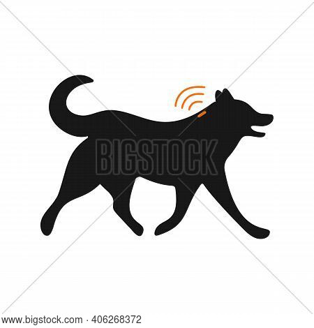 Pets Microchipping Concept. Dog Silhouette With Implant And Rfid Signal Isolated On White Background