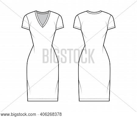 T-shirt Dress Technical Fashion Illustration With V-neck, Short Sleeves, Knee Length, Fitted Body, P