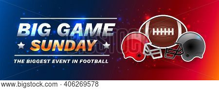 American Football Super Sunday Football Bowl Championship Big Game - Blue And Red Shining Lights Vec