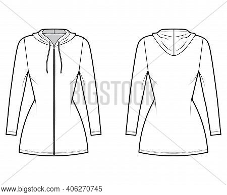 Hoodie Zip-up Dress Technical Fashion Illustration With Long Sleeves, Mini Length, Fitted Body, Penc