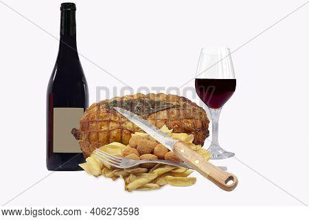 Bottle Of Wine With Roast Bottle Of Wine With Roast