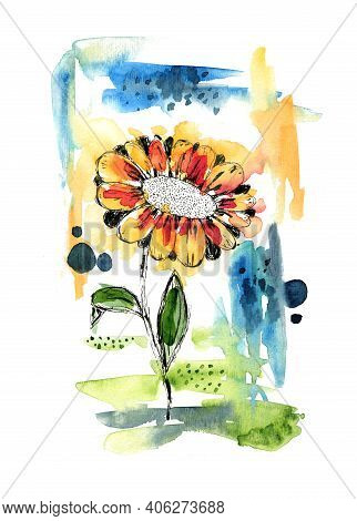 Bright Abstract Watercolor Botanical Illustration. Watercolour Background With Gerbera Flower And Co