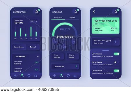Finance Services Unique Neomorphic Design Kit. Online Banking Screen With Charts And Financial Analy