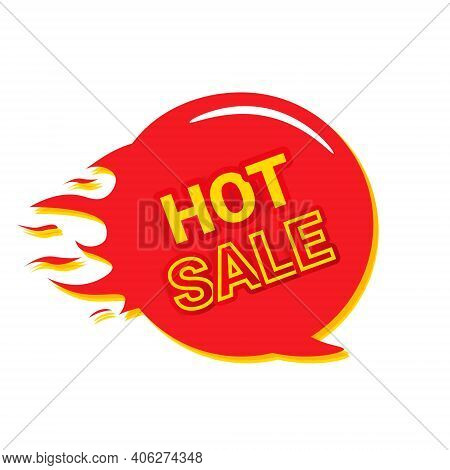 Hot Sale. The Fire Is Flaming With A Red Sign Isolated On A White Background. Modern Icon Element Fo