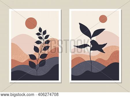 Art Landscape Wall Set. Abstract Landscape Design For Covers, Posters, Prints, Wall Art In A Minimal