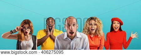 People With Wondered, Surprised And Happy Expression Are Shocked For New Revelation . Cyan Backgroun