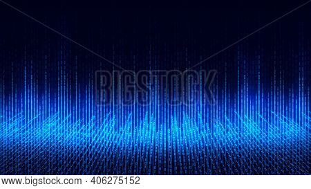 Abstract Technology Background, Cyberspace And Binary Code. Digital Cyberspace And Digital Data Netw
