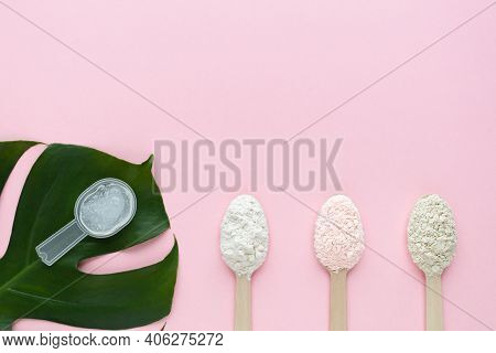 Natural Collagen Gel And Powder With Different Flavors On Pink Background. Biologically Active Food