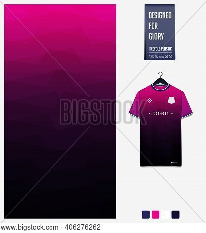 Fabric Pattern Design. Geometric Pattern On Pink Gradient Background For Soccer Jersey, Football Kit