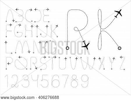 Font, Type - Airline Business Or Tourist Travel Logo Design. Flight Radar Tracking Dotted Line Fly T