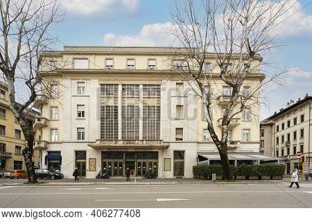 Udine, Italy. February 2 2021.  The Seat Of The Former Odeon Cinema In The Building Designed By The