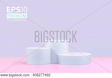 Vector Round Podium, Pedestal Or Platform, Background For Cosmetic Product Presentation. 3d Podium.