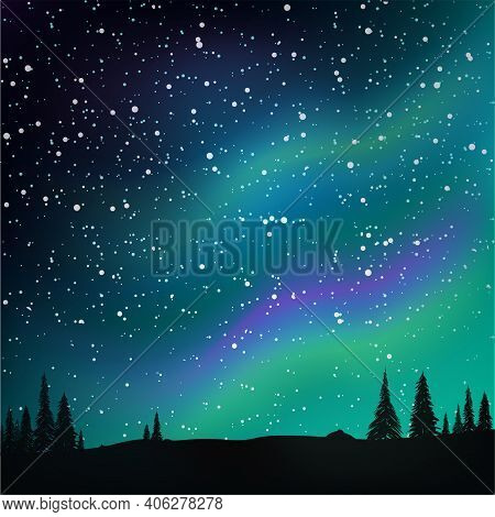 Northern Lights In The Starry Sky And Pine Forest. Vector Illustration.