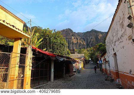 Tepoztlan, Morelos. Mexico, January 10, 2021. Street in Tepoztlan