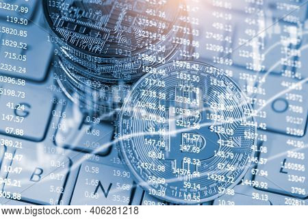 Modern Way Of Exchange. Bitcoin Is Convenient Payment In Global Economy Market. Virtual Digital Curr