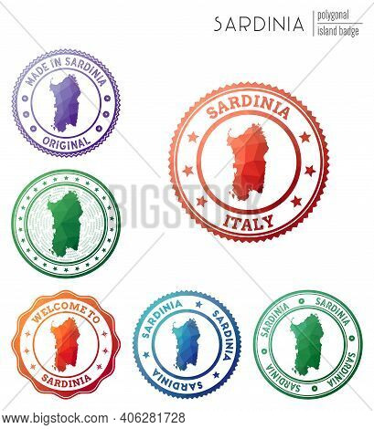 Sardinia Badge. Colorful Polygonal Island Symbol. Multicolored Geometric Sardinia Logos Set. Vector