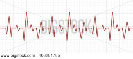 Line Heartbeat. Cardiogram. Cardio Symbol. Vector Illustration.