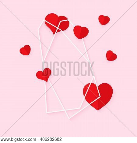 Abstract Polygonal Geometric White Frame With Red Hearts. Template Empty Text Banner For Valentines