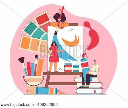 Tiny Artists Drawing Or Painting On Big Canvas Flat Vector Illustration. Cartoon Characters Creating