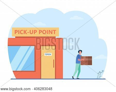 Customer Carrying Box From Delivery Service Office. Pickup Point, Person Receiving Parcel, Receiver.