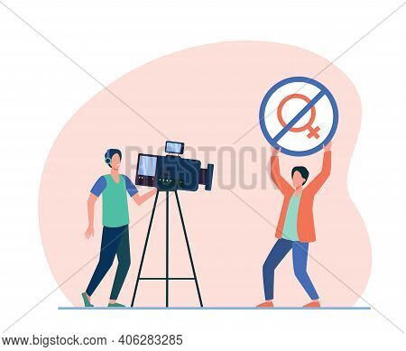 Influencer Or Activist Showing No Woman Allowed Sign At Camera. Sexist, Cameraman. Flat Vector Illus