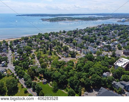 Aerial View Of Historic Residence Building And Coast With Salem In The Background In Historic City O