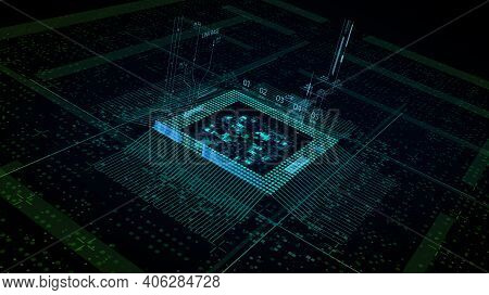 Cpu Chip On Motherboard - Abstract 3d Render Of A Computer Processor Chip On A Circuit Board With Mi