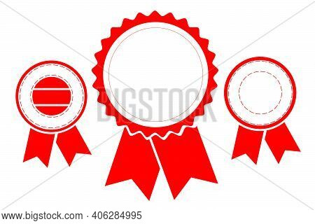 Vector Set, Template 3 Different Style Blank Red Circle With Ribbon Stamp, Isolated On White