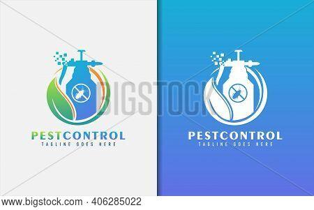 Pest Control Logo Design. Abstract Green Leaf Combine With Pest Spray. Vector Logo Design Illustrati