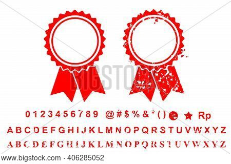 Vector Template 2 Different Style Blank Red Rust Circle With Ribbon Stamp, Number, Alphabet, Special