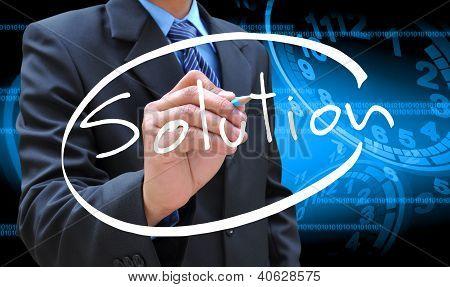 Empresário mão escrita solução