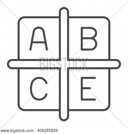 A B C E Vitamins Thin Line Icon, Diet Concept, Four Groups Of Vitamins Sign On White Background, Cub