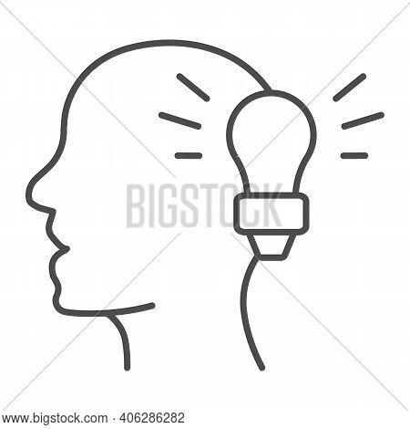 Light Bulb And Human Head Thin Line Icon, Online Education Concept, Idea Lightbulb Symbol On White B