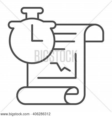 Report And Clock Thin Line Icon, Startup Concept, Schedule Sign On White Background, Office Graph Re