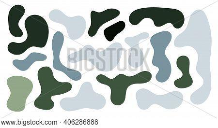 Green And Grey Rregular Blob, Set Of Abstract Organic Shapes. Abstract Irregular Random Blobs. Simpl
