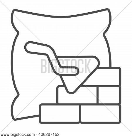 Brickwork With Trowel And Bag Of Cement Thin Line Icon, Labour Day Concept, Cement Bag And Brick Wal