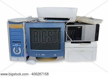 Pile Of Old Computer Hardware, Electronic Waste Isolated On White Background, Reuse And Recycle Conc