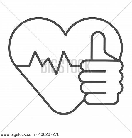 Thumb Up And A Healthy Heart Thin Line Icon, Diet Concept, Healthy Heart Sign On White Background, G