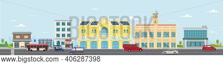 Thai Culture Street With Vintage Building And Market.vector Illustration.cars Driving City Street Pa
