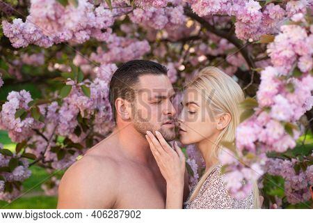 Sensual Couple In Cherry Sakura Blossoms Flowers. Outdoor Portrait Of Young Lovers Couple Near Sakur