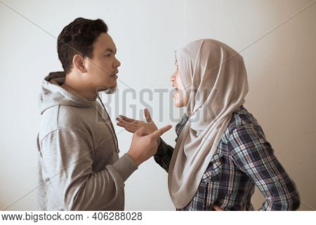 Asian Muslim Couple Husband And Wife Having Fight, Argue And Ignoring On Each Other, Bad Relationshi