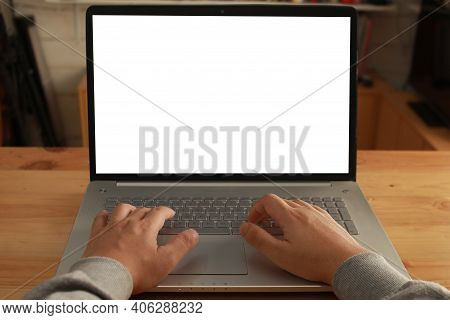 Close Up Image Of  Laptop Mock Up, Pc Computer Monitor With White Screen Template, Man Typing On Lap