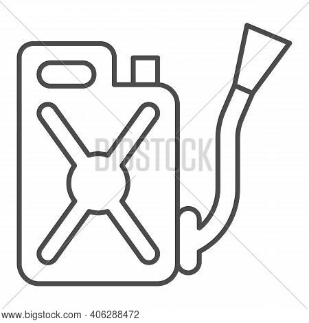 Canister With Hose Thin Line Icon, Pest Control Concept, Funnel Fuel Sign On White Background, Metal