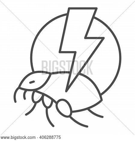 Flea And Lightning Thin Line Icon, Pest Control Concept, Flea Warning Sign On White Background, Catc